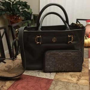 Tory Burch Horsebit Jaden leather satchel & wallet
